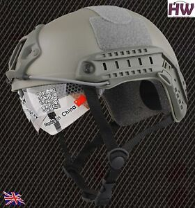 AIRSOFT MH TYPE OPS CORE FAST BASE JUMP HELMET + VISOR GREEN OD FG ARC RAILS