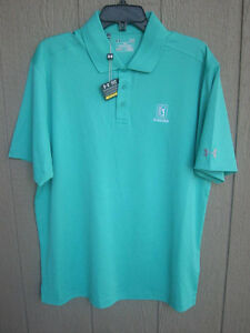 NEW GREEN UNDER ARMOUR POLO GOLF SHIRT LARGE LOOSE HEAT GEAR TPC SCOTTSDALE LOGO