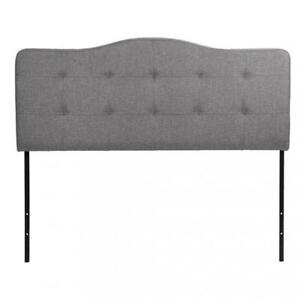 Modern Contemporary Fabric Upholstered Headboard Queen Size Gray Q57