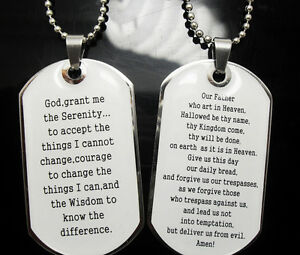 120 Serenity Bible Lord's prayer pendant necklace Jewelry lots dog tag wholesale