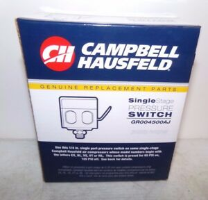 NEW Campbell Hausfeld Single Stage Pressure Switch GR004500AJ