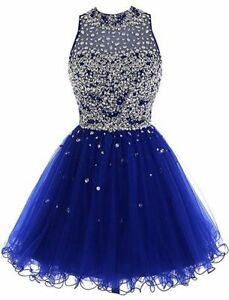 US Women's Short Fashion Beaded Prom Ball Tulle Applique Party Cocktail Dress