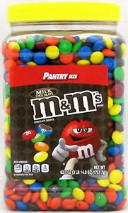 M&Ms Plain Milk Chocolate Candy Pantry Size 62oz Jar M&M's M & M Tub Over 3.8 LB