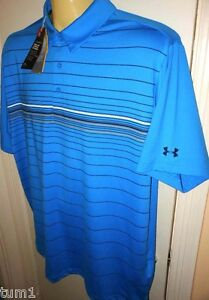 Under Armour Golf Men's Coldblack Stripe Polo Shirt Blue # XXL 2XL