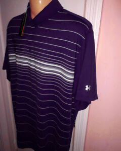 Under Armour Golf Men's Coldblack Stripe Polo Shirt Purple # XXXL 3XL