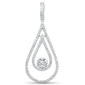 .68ct F SI 14kt White Gold Tear Drop Floating Diamond Pendant 1.5quot;