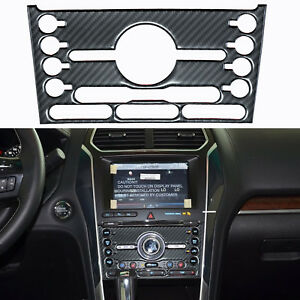 Carbon Fiber Multimedia Center Control Panel Sticker For 2016 2017 Ford Explorer