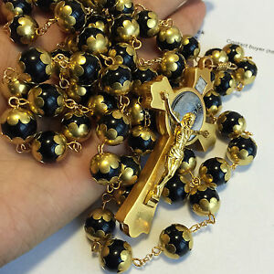 Catholic Gift Gold 10MM Blank Obsidian BEADS MENS rosary cross necklace BOX