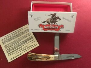 RARE Winchester MADE IN USA  Real Stag Handles wRifle Shield & wBox MINT !