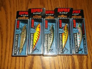 RAPALA FLAT RAP 06----LOT of 5 DIFFERENT COLORED FISHING LURES-FLR06