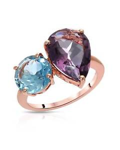 Gold  Sterling Silver Cocktail Blue Topaz Pear Amethyst 6.75 ctw Ring  s 7 $160