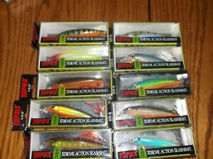 RAPALA X-RAP-08's--lot of 10 DIFFERENT COLORED-FISHING LURES-XR08