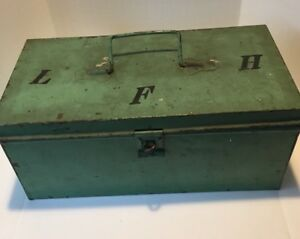 Vintage Green Metal Fishing Tackle Box with Tackle &  3 Wood Lures