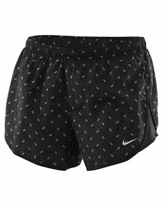 Nike Dry Tempo Short Womens 799713-010 Black Silver Running Shorts Wmns Size L