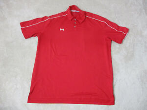Under Armour Golf Polo Shirt Adult Extra Large Red White Dri Fit Rugby Mens H