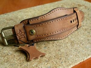 RED ARMY MILITARY WATCH BAND GENUINE LEATHER STRAP CUFF BRACELET 20mm BROWN