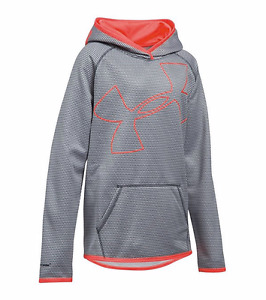 Under Armour Storm Fleece Novelty Jumbo Logo Hoodie Big Girls Grey Pink Sz XL