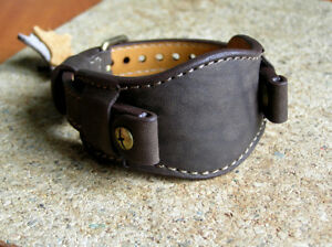 MILITARY DH WATCH STRAP GENUINE LEATHER CUFF BRACELET BAND 16 mm DARK BROWN