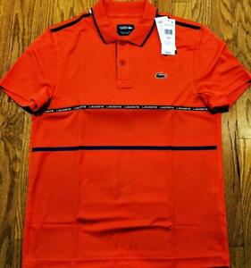 Mens Authentic Lacoste Sport Striped Ultra Dry Polo Shirt Mexico Red 8 3XL $98