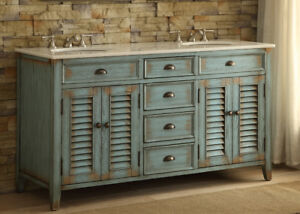 Benton Collection Abbeville Double Sink Vintage Distressed Vanity 88323-60BU 60
