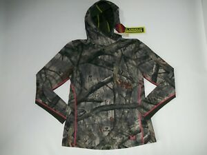 UNDER ARMOUR Coldgear MOSSY OAK CAMO Hooded EVO Hunting Shirt Womens XL rt $90