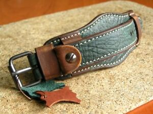 GENUINE LEATHER BAND TRAVEl WATCH STRAP GREEN CUFF BRACELET 24mm MODEL KALAHARI