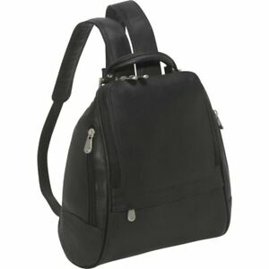 Le Donne U Zip Mid Size Woman's Leather Backpack  Purse