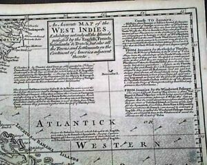 Great WEST INDIES Southeast U.S. Carribbean RARE 18th Century 1740 Foldout MAP
