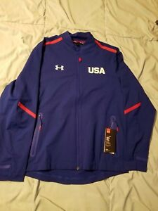 NWT UNDER ARMOUR RED BLUE 2016 UNITED STATES USA OLYMPICS RYDER CUP JACKET XL