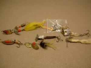 HEDDON SMALL METAL OLD VINTAGE FISHING LURE SPOON LOT tackle box reel collect