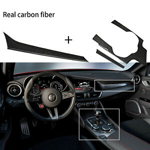 Carbon Fiber Interior Console + Dashboard Panel For Alfe Romeo Giulia 2017 2018