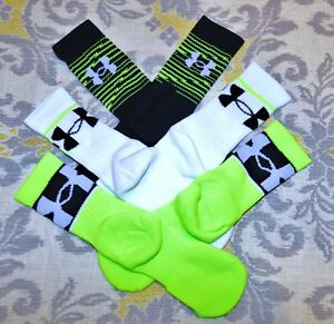 3 pairs Under Armour training green white crew socks Boys Youth 13.5 - 4Y shoes