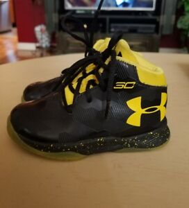 under armour seth curry black yellow toddler boys girls high tops size 5 SB1