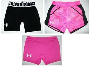 Lot3 UNDER ARMOUR Girls Athletic Compression Shorts Size XS (56) Pink