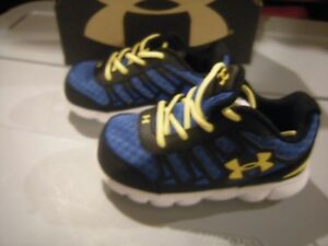 New Toddler Boys Black Blue & Yellow Under Armour Spine Tennis Shoes Size 6