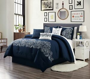 Linz 7 Piece Navy Blue White Embroidered Paisley Floral Scroll Comforter Set