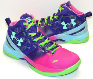 Under Armour Curry 2 Northern Lights High Top Basket Ball Shoes Girls US Size 5M