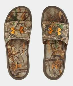 New Youth Boys Under Armour UA Ignite Realtree Camo Flip Flop Sandals Size 7