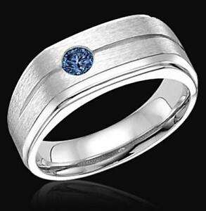 Men's blue 0.75 carat diamond Solitaire ring Sterling silver      FG10099