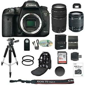 Canon 7D Mark II DSLR Camera 18-55mm IS STM Lens 75-300mm III Telephoto Lens Kit
