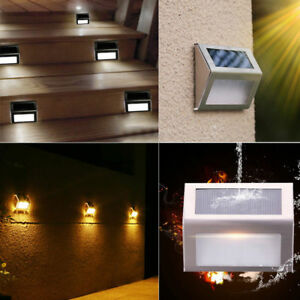 4PCS 3 LED Outdoor Solar LED Stainless Steel Garden Patio Step Stair Deck Lights