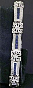 14K white gold beautiful 4.41CTW diamond & Blue sapphire floral link bracelet