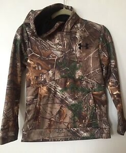 Under Armour Youth YMD Realtree STORM 1 Hoodie Camo Overhead wpouch