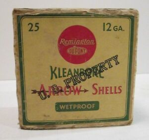Vtg Empty U.S. Property REMINGTON Kleanbore Arrow 12 Gauge Ammo Shell Box