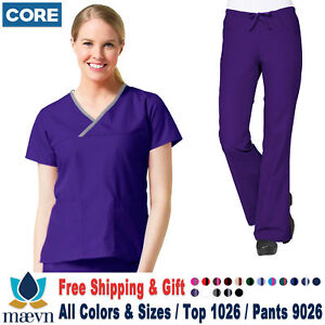 Maevn Scrubs Set CORE Medical Uniform Classic V Neck Top amp; Cargo Pants 1026 9026