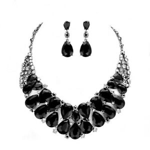 Black Crystal Teardrop Cluster Rose Gold Necklace Earring Set Prom Bride Wedding