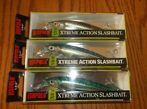 RAPALA SX-RAP-12's--lot of 3 DIFFERENT COLORED-FISHING LURES-SXR12