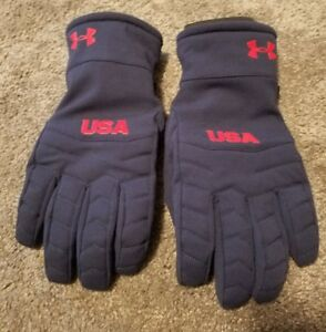 NEW UNDER ARMOUR RED BLUE UNITED STATES USA OLYMPICS ATHLETE WINTER GLOVES COLD