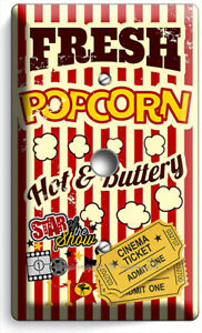 POP CORN TV ROOM HOME MOVIE THEATER CINEMA LIGHT DIMMER CABLE WALL PLATES DECOR