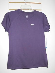 Reebok New Womens Purple Relaxed Fit Play Dry Shirt Small Blouse Top NWT